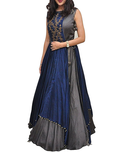 Net Anarkali Salwar Suit Unstitched Regular Wear Dress Material