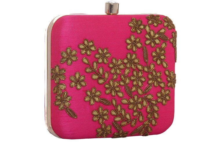 Pink Polyester Clutch