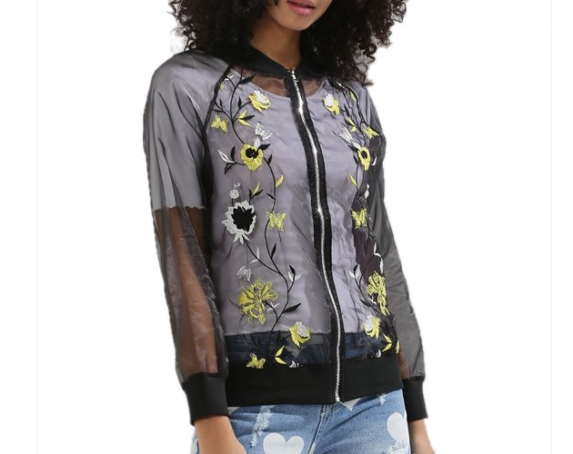 Sheer Embroidered Bomber Jacket
