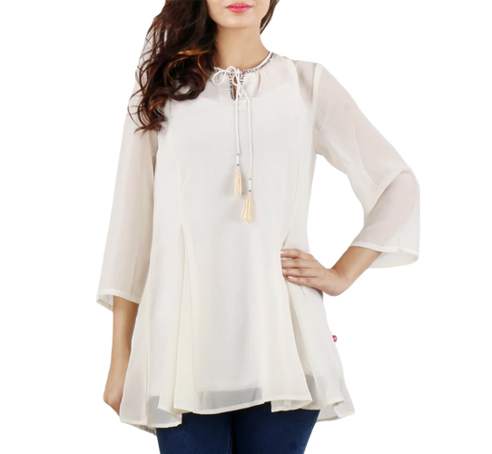 Sleeve Georgette Solid Beige Dress