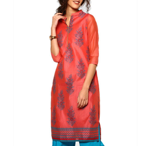 abof Ethnic Coral Red Block Print Regular Fit Chanderi Kurta