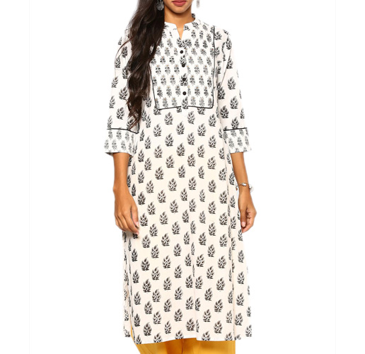abof Ethnic White & Black Block Print Regular Fit Kurta