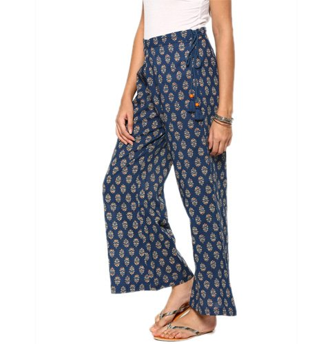 abof Fusion Dark Blue Printed Regular Fit Palazzo Pants