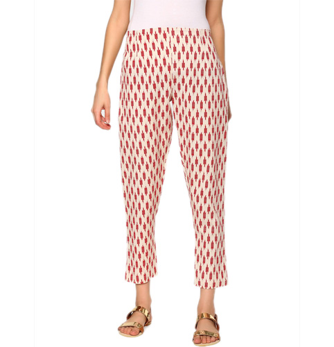 abof Fusion Red & Beige Linen Blend Printed Regular Fit Ethnic Pants