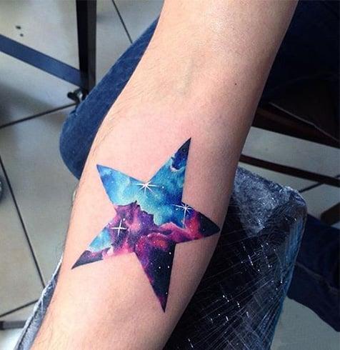 Coloured Star Tattoos