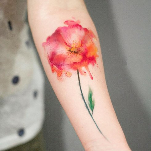 Watercolor Flower Tattoo Bleeding colour