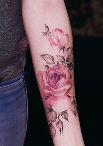 Watercolor Rose Tattoo Budding Beauty