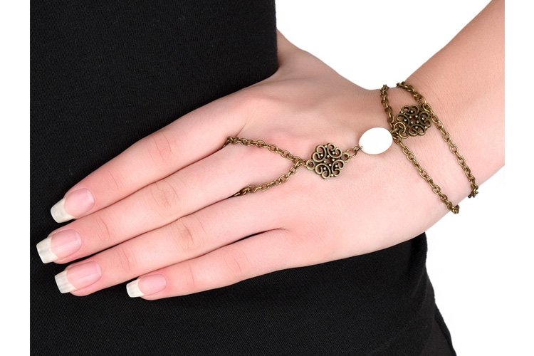 Antique Gold Embellished Ring Bracelet