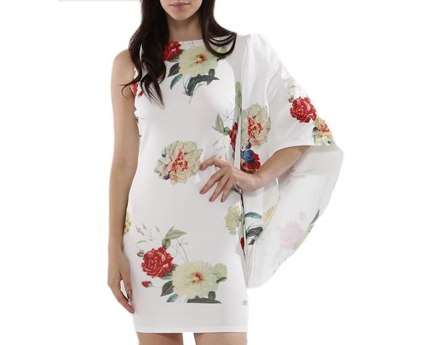 Asymmtric Cape Sleeve Bodycon Dress
