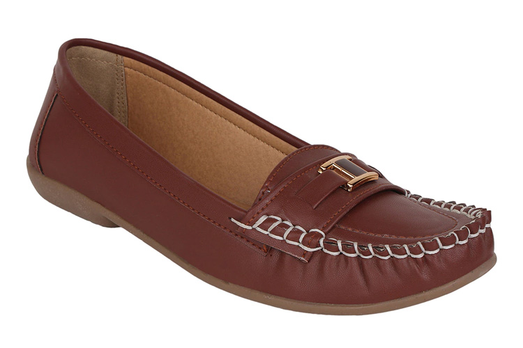 Brown Leatherette Loafers & Mocassins