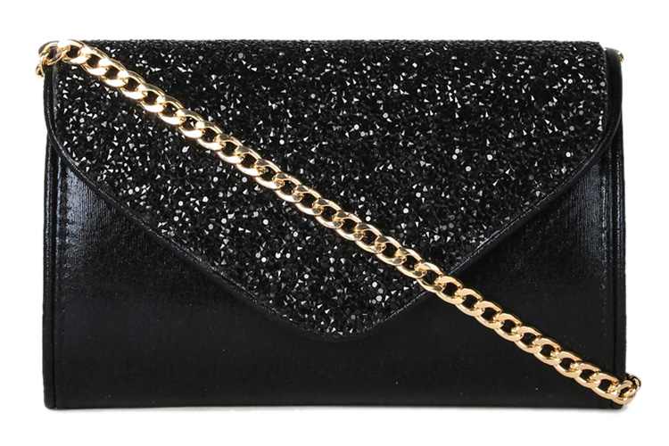 E2O Black Embellished Leather Clutch