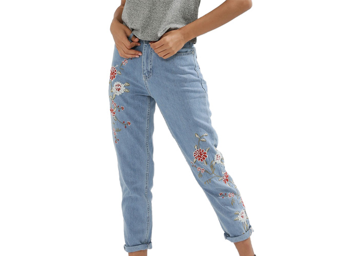 Floral Embroidered Mom Jeans