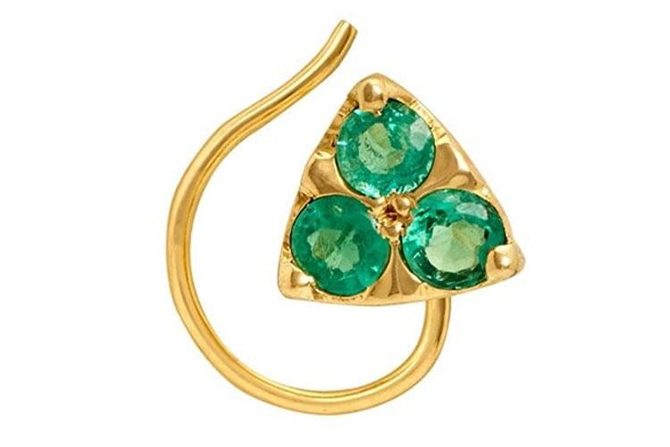 Gehna Yellow Gold and Emerald Nose Pin