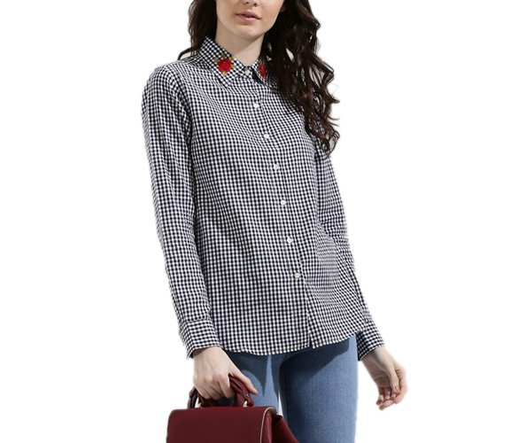 Gingham Shirt With Rose Embroidery