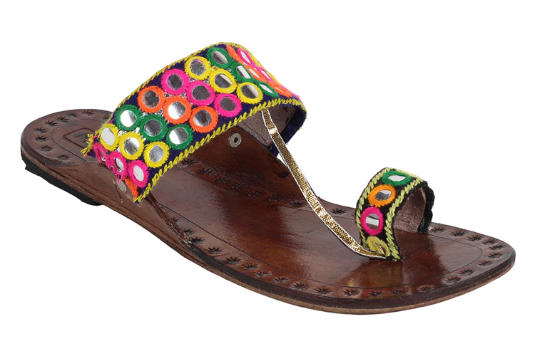 Multi Colored One Toe Kolhapuri