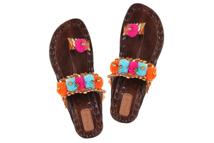 Multi Leatherette One Toe Kolhapuris