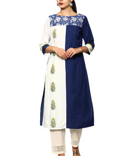 Rangmanch by Pantaloons Women Blue & White Color Block Linen Blend Regular Fit Kurta