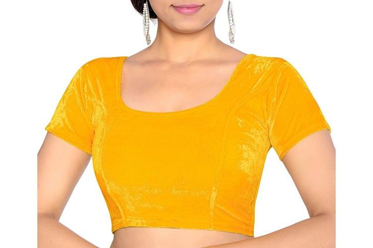 Studio Shringaar Party Fabulous Yellow Solid Short Sleeve Non-Padded Blouse