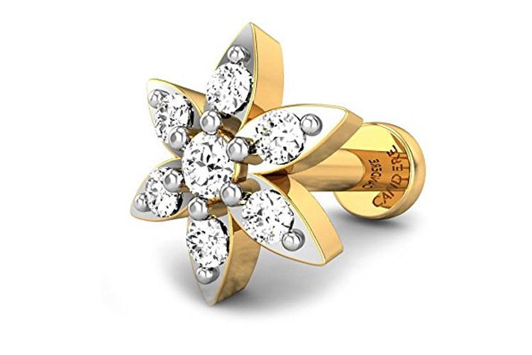 Yellow Gold and Diamond Nosepin