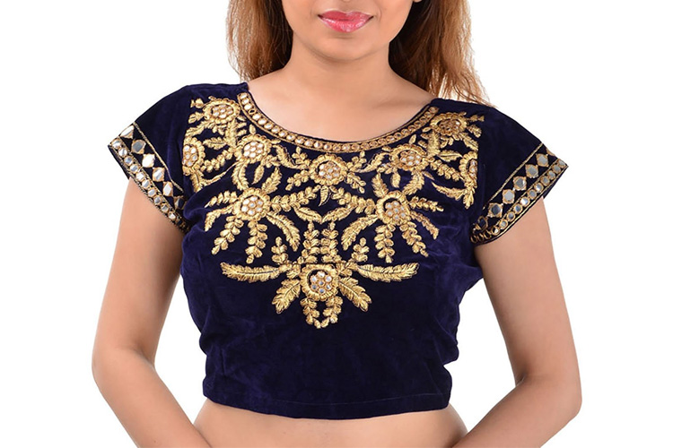 Youth Mantra Embroidered Mirror Work Blue Velvet Blouse