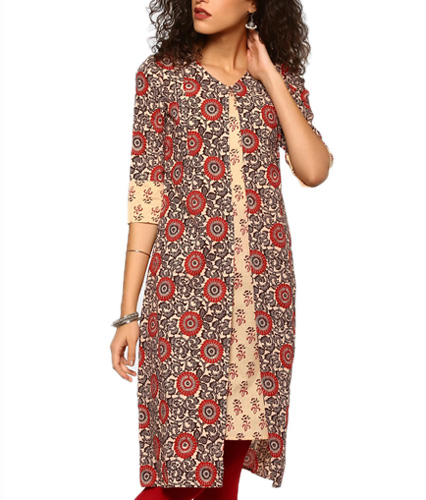 abof Ethnic Beige & Maroon Block Print Regular Fit Kurta