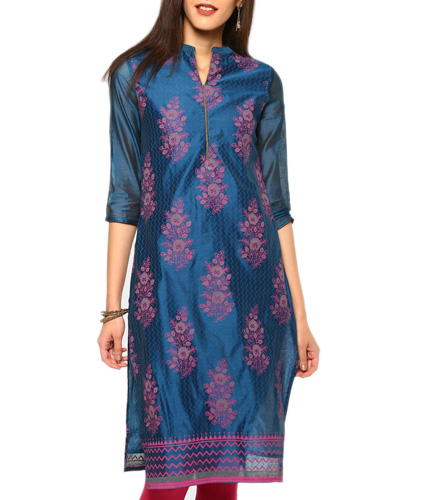 abof Ethnic Blue Block Print Regular Fit Chanderi Kurta