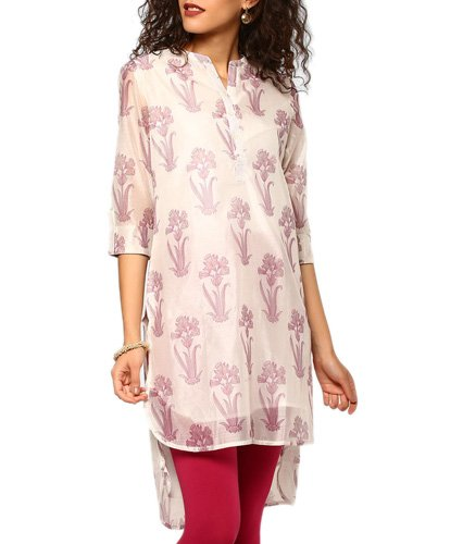 abof Ethnic Off-white Block Print Chanderi Regular Fit Kurta