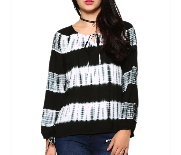 abof Fusion Black & White Liva Tie-n-Dye Regular Fit Top