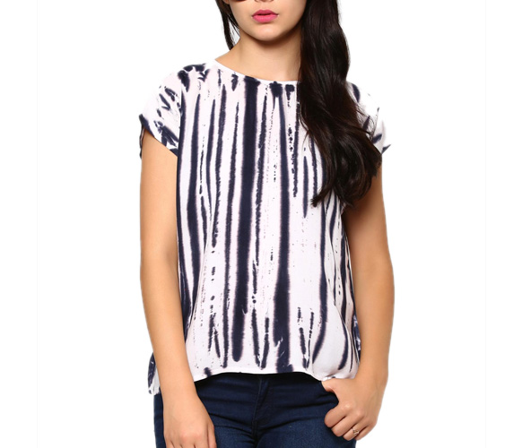 abof Fusion Blue & White Liva Tie-n-Dye Regular Fit Top
