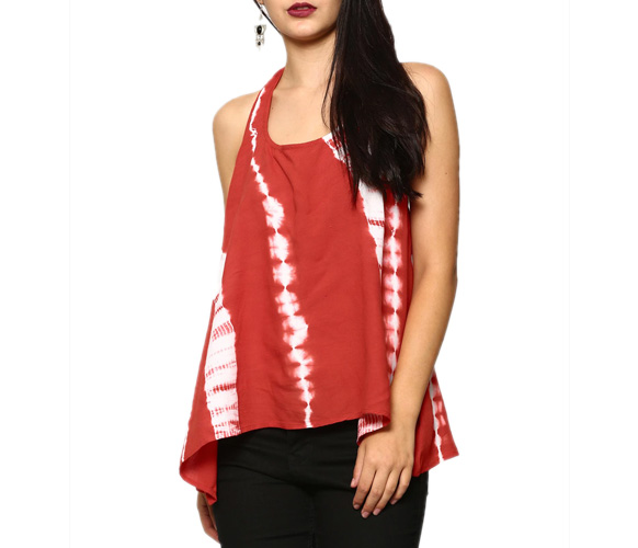 abof Fusion Red Liva Tie-n-Dye Regular Fit Halterneck Top