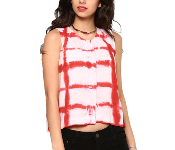 abof Fusion White & Red Liva Tie-n-Dye Regular Fit Top