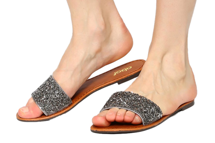 abof Women Dark Grey Embellished Flats