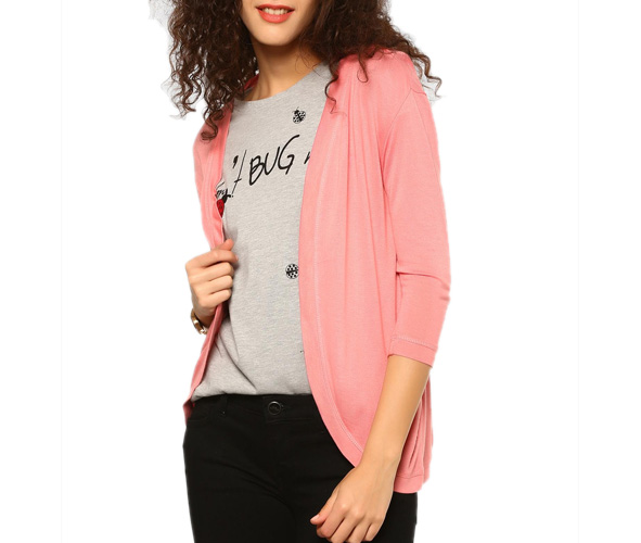abof Women Pink Regular Fit Shrug
