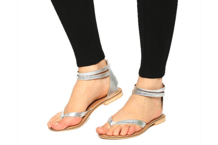 abof Women Silver-toned Sandals