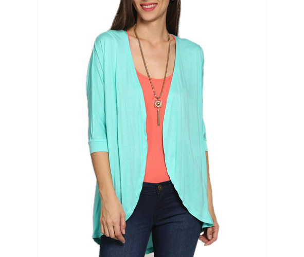 abof Women Turquoise Blue Regular Fit Shrug