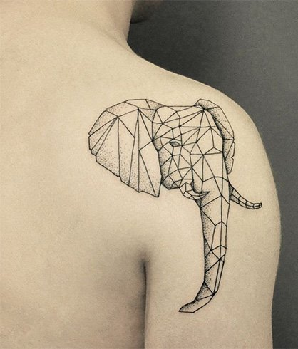 Geometric Elephant Tattoos