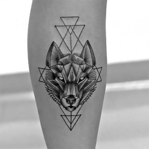Geometric Wolf Tattoos Ideas