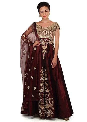 Ruby Wine Anarkali Suit
