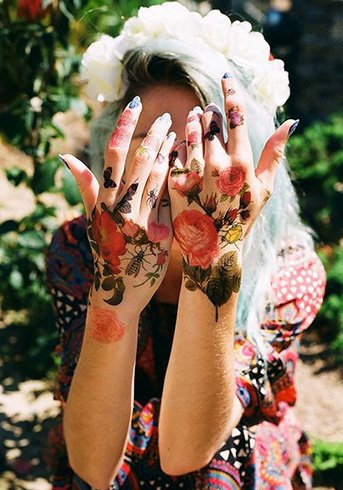 Tattoos for Girls on Hand with Flowers