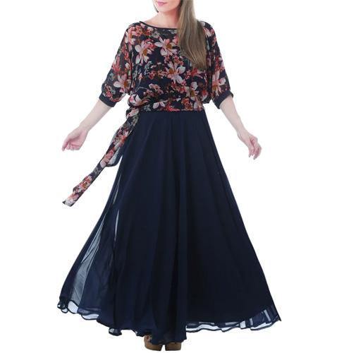 Blue Georgette Maxi Dress