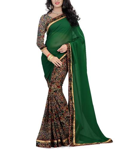 Green Half & Half Printed Saree