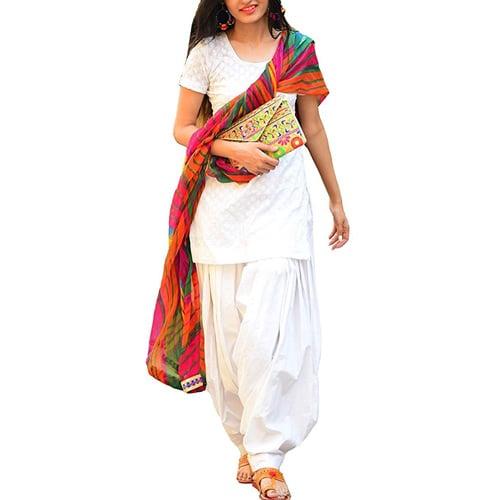 HMP Fashion Women's Semi Stitched Heavy Slab Cotton White Patiala Suit With Dupatta