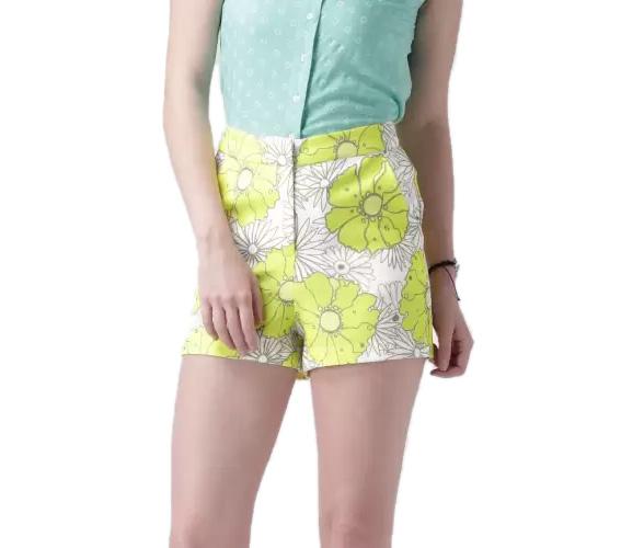 Mast & Harbour Printed Women's Yellow Basic Shorts