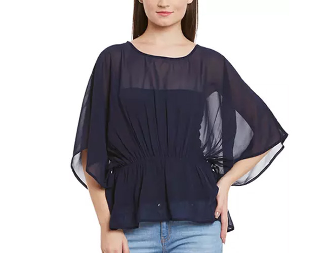 Navy Color Butterfly Sleeve Top