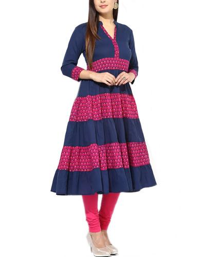 Navy and Pink Printed Anarkali Cotton Kurta