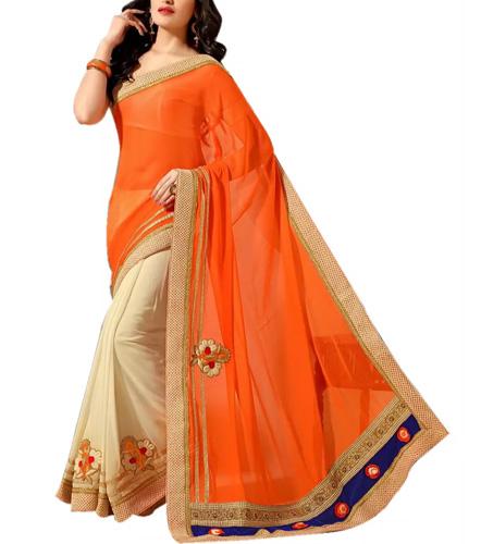 Orange And Beige Art Silk Fancy Embroidered Halh & Half Saree