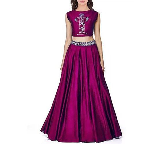 Purple Embroidery Taffeta Silk Unstitched Lehenga Choli at Voonik