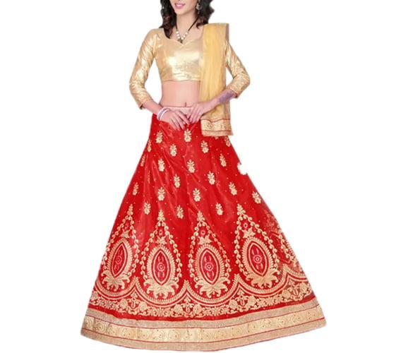 Red & Beige Embroidery Designer Voonik Lehengha Choli