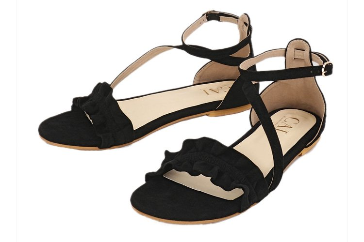 Ruffled Front Strap Flat Sandals