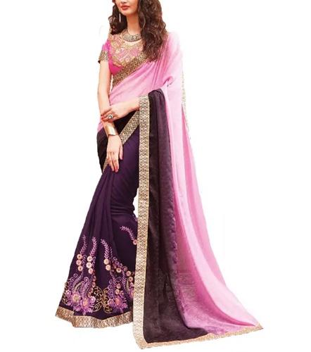 Voonik Ankan Fashions Half & Half Saree